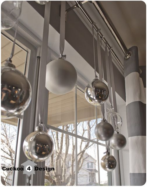 coffee table christmas decorations | also hung some more Christmas balls into the window of our dining ...                                                                                                                                                      More