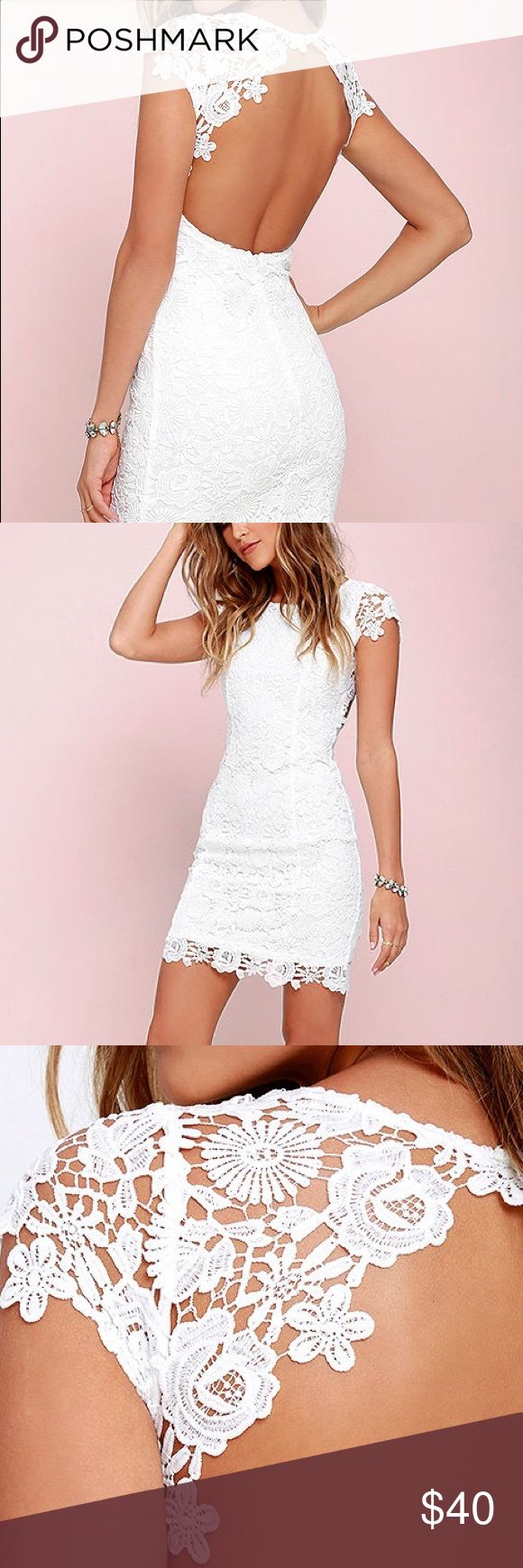 XS White Lulus dress Really cute fitted white lulus dress only worn once! Lulu's Dresses Mini