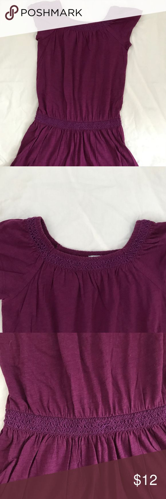 "Gap ""Woodstock"" purple drop-waist boho dress 5T XS Gap ""Woodstock"" collection dress -- This comfy boho dress is a wine purple color.  It has smocked elastic at both the neckline and drop-waist (below the actual waistline).  It may work off the shoulder, as is the current trend, but I never tried that.  The fabric is 100% cotton.  The panty cover is also included.  The size is 5T, but my daughter wore this when she was in Gap XS 4-5.  It's in excellent condition with no damage.  This was a…"