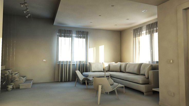 bram | openspace - vista sul salotto con controsoffitto e faretti incassati