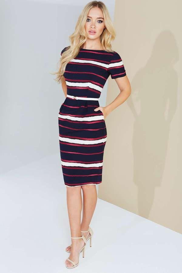 Paper Dolls Multi Stripe Print Belted Dress