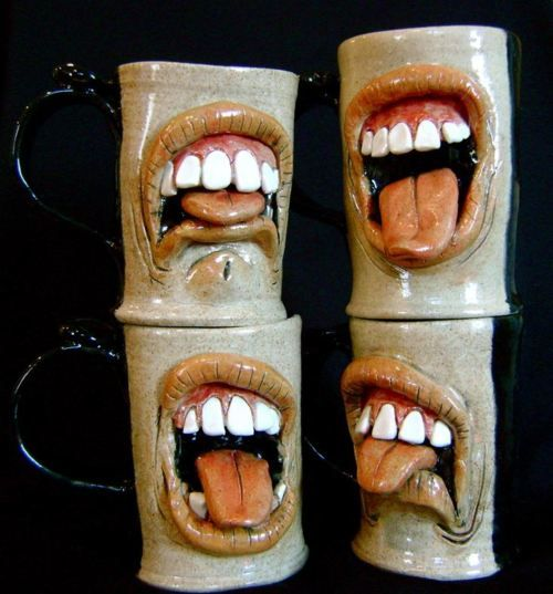 mugs Ron Free mouths grimace disgust face  pottery ceramics clay