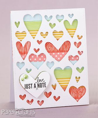 Moxie Fab World: Handmade Cards Week: The Stickers & Tape Challenge: Clever use of Washi Tape...a panel behind the heart cutouts cover with washi