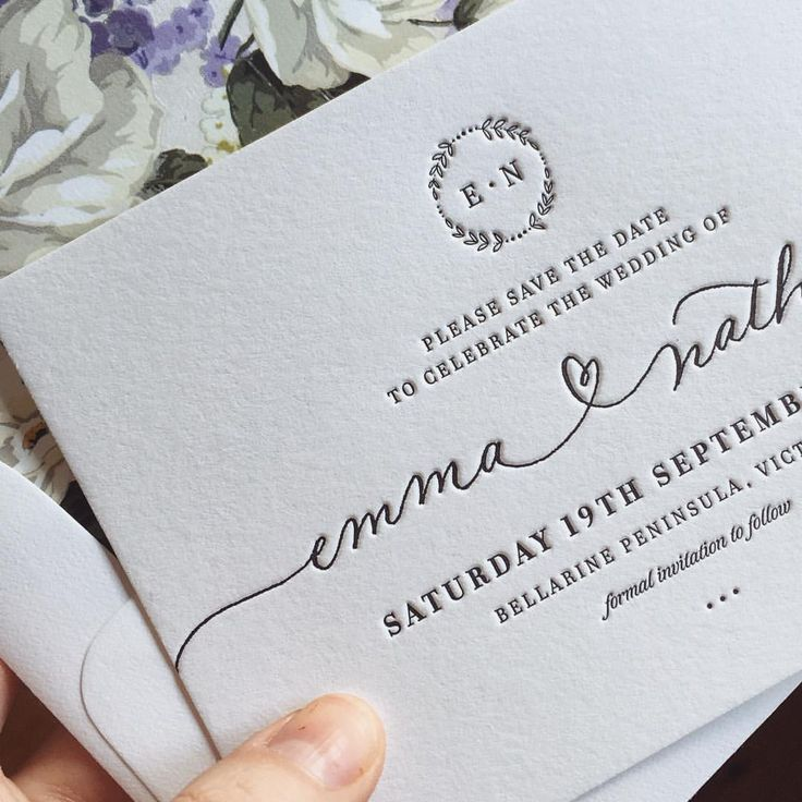 """Beautiful crisp black letterpress on 100% cotton, with our original threaded heart calligraphy, custom monogram, and sweet floral envelope liner ❤️…"""