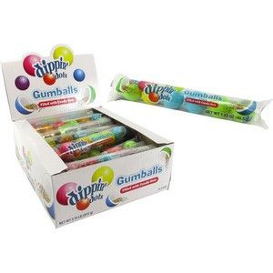 Dippin Dots Filled Gumballs Each sleeve contains 6 soft gumballs filled with dippin dots candy beads. 6 Sleeves of Gumballs