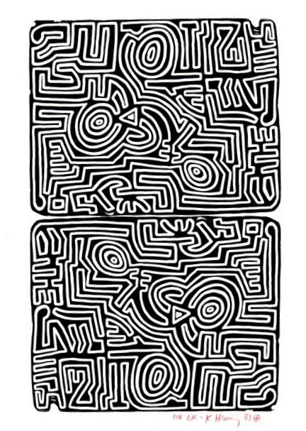 """Keith Haring """"Labyrinth"""" 1989 Lithograph 291/2 x 411/2"""""""