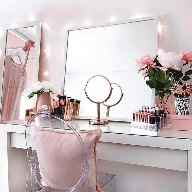 Have A Look At Each Of These Shockingly Gorgeous All Makeup Thoughts Which Typically Do The Most Makeupproducts Pink Vanity Beauty Room Room Decor