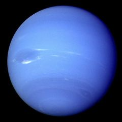 Voyager 2 photo of the blue planet Neptune