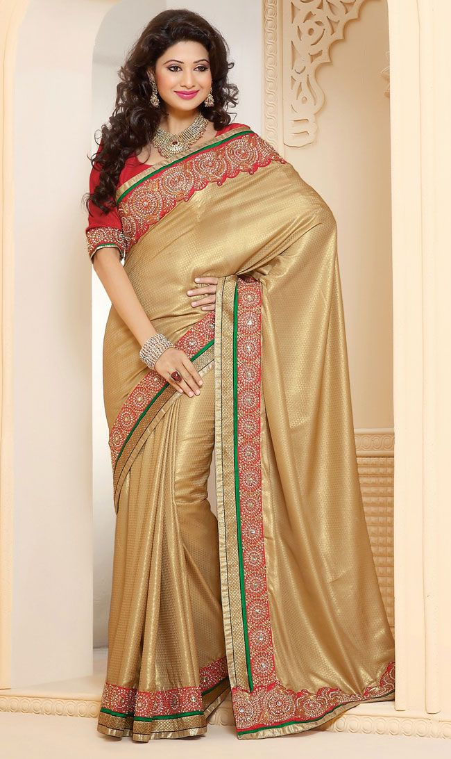 Contemporary Beige Brown Crepe and Jacquard and Satin and Silk Party Wear Saree - IG331355USD $ 78.09