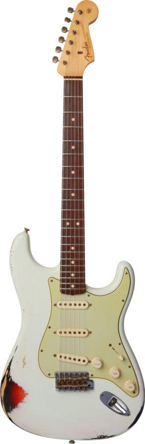 Coda 25th Anniversary 1963 Stratocaster® Relic Olympic White over 3-Tone Sunburst