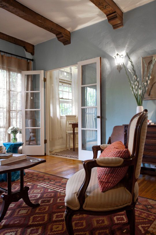 beams: House Tours, Ceilings Beams, Living Rooms, Wall Colour, Color Schemes, French Doors, Blue Wall, Apartment Therapy, Wall Color