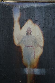 This painting was burned in the Provo Tabernacle choir. All except The image of Christ. Wow.