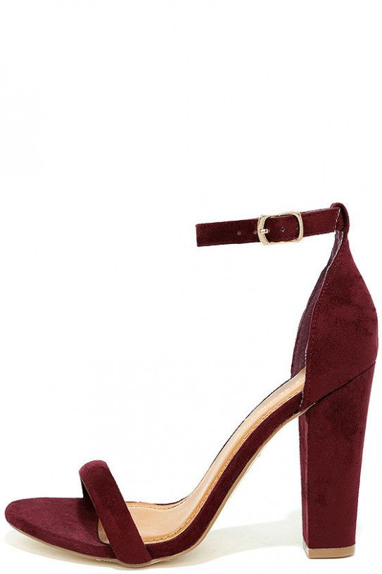 d9f99c23644e1 cute burgundy heels suede ankle strap heels burgundy block heels 30  #BurgundyWedding #HeelsAnkleStraps