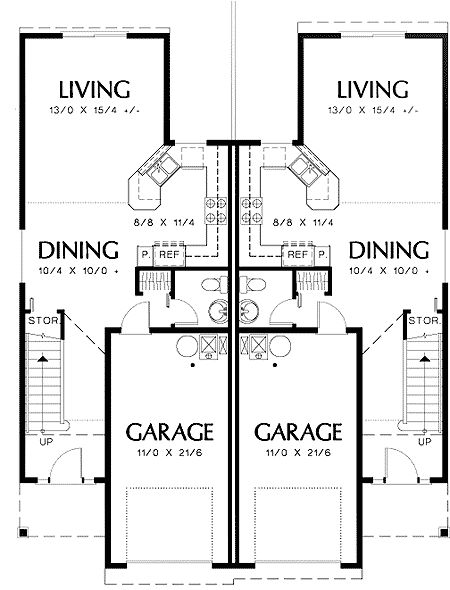 68 best townhouse duplex plans images on pinterest for Multi family plans for narrow lots