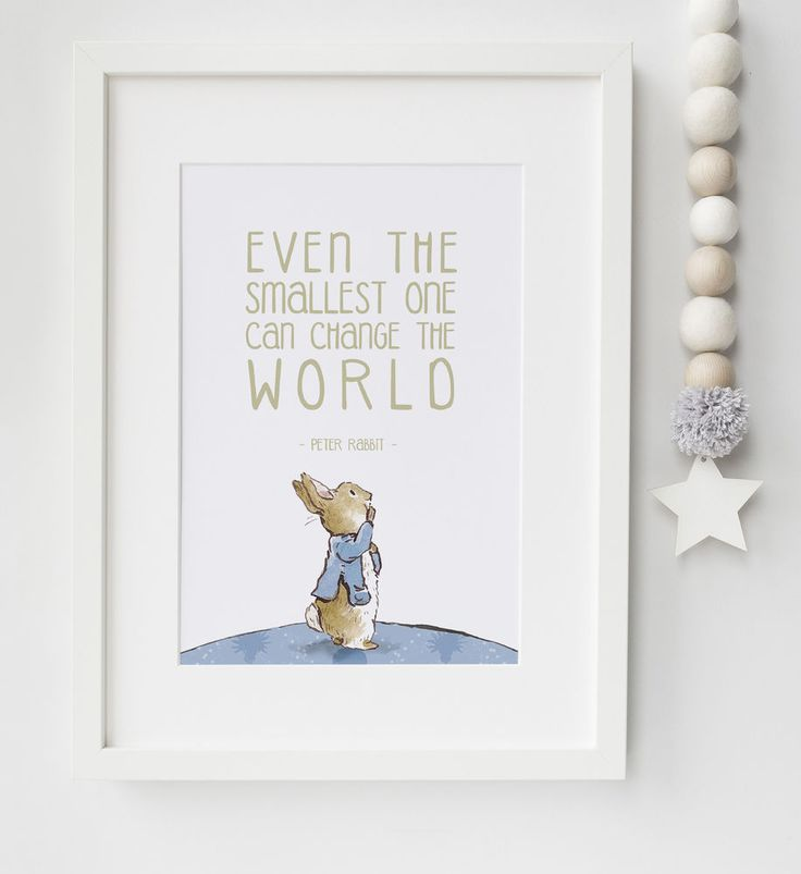 Peter Rabbit Baby Quote Beatrix Potter Nursery Print Picture Christening Gift