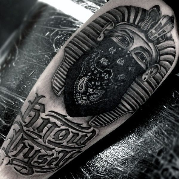 Cool King Tut Wearing Black Bandana Tattoo On Mans Thigh