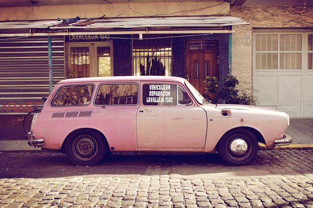 pink station wagon