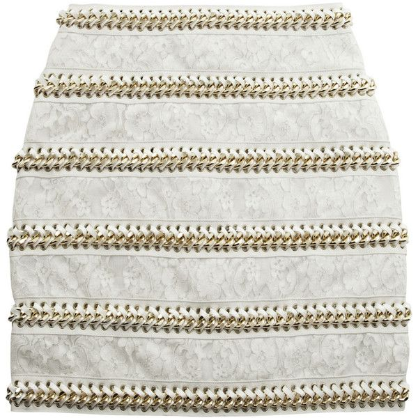 Balmain Chain-embellished lace and leather mini skirt (82,070 INR) ❤ liked on Polyvore featuring skirts, mini skirts, bottoms, saias, balmain, white, mini, mini skirt, white lace skirt and white mini skirt