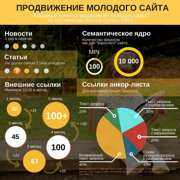 Простая инфографика о том, как продвигать молодые сайты. Создано на основе материалов курса http://imbv.ru/courses/dvd/seo_prodvizhenie_sajtov/93/