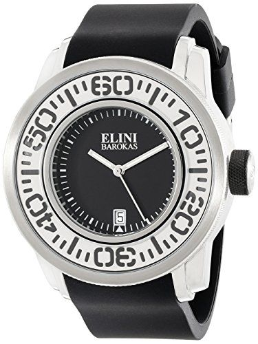 Elini Barokas Men's ELINI-12989-01 Equinox Analog Display Swiss Quartz Black Watch:   The new Elini Barokas Equinox men's watch is modern, masculine and destined for greatness. The robust, oversized case is a strapping 50mm in diameter and 17mm thick. The lugs are gently curved to comfortably fit the contours of the wrist. The unidirectional rotating bezel with oversized markers encircles the perfectly round dial with luminous hands and an automatic date calendar. Premium Swiss-made qu...
