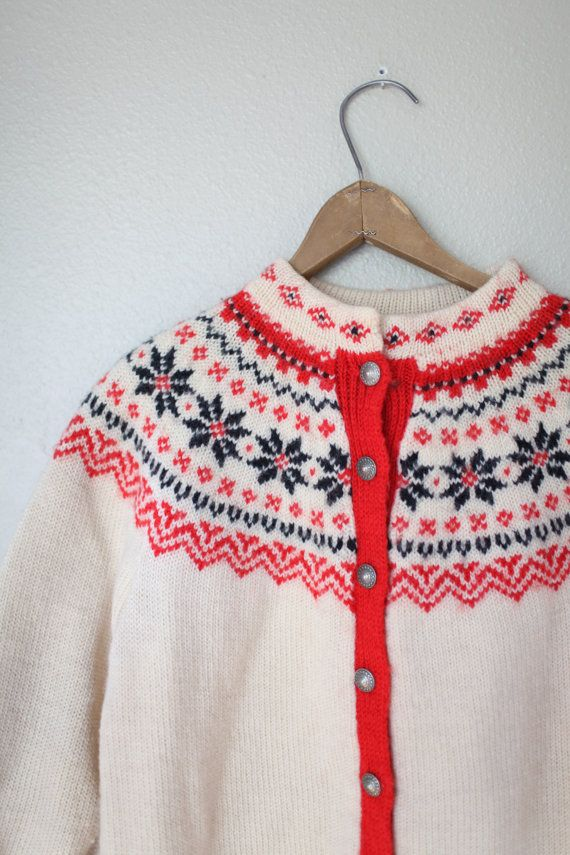 vintage nordic knitted wool cardigan sweater by lolajoonvintage