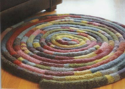 Knitted Rug Patterns Free : DIY - Tapis en tricotin tricotin Pinterest Livres, Tricot and Parks