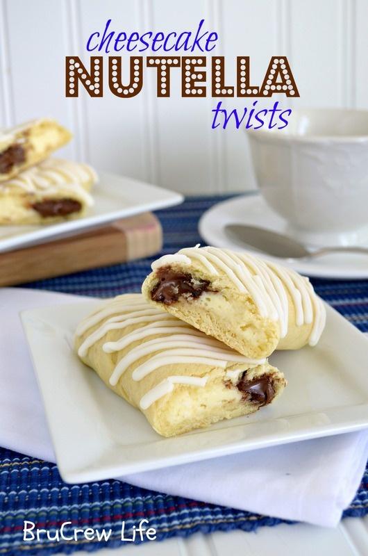 Cheesecake Nutella Twists- very easy breakfast idea using crescent rolls, nutella, and a cream cheese filling.  http://www.insidebrucrewlife.com    #breakfast #nutella #cheesecake