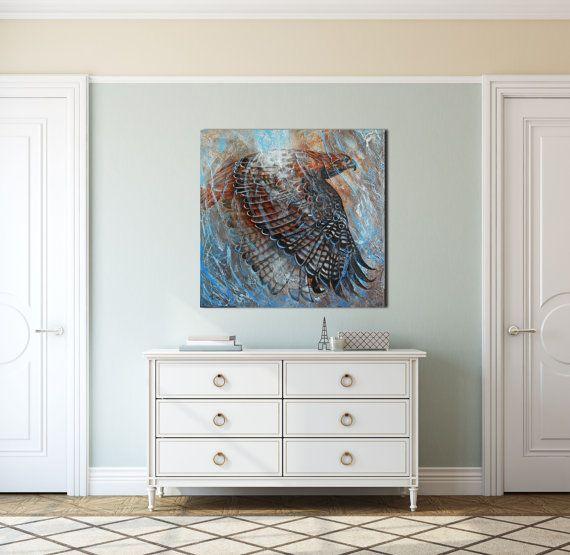 Tableau  30 x 30 peinture toile carré animalier oiseau par KBergArt #peinture #oiseau #buse #oiseau de proie #art animalier #peinture animalière #textures #bleu #brun #gris #décoration #toile carrée salon, #chambre #cuisine #salle de bain