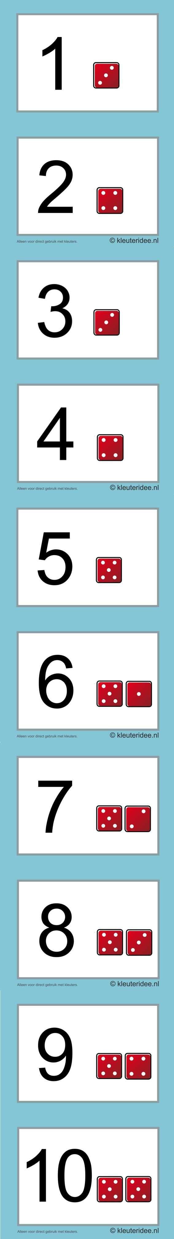 Cijferkaarten voor kleuters 1-10, kleuteridee.nl , number cards for preschool , free printable.