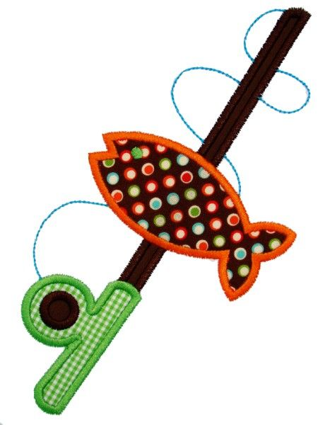 Fishing pole applique design machine embroidery applique for Appliques design