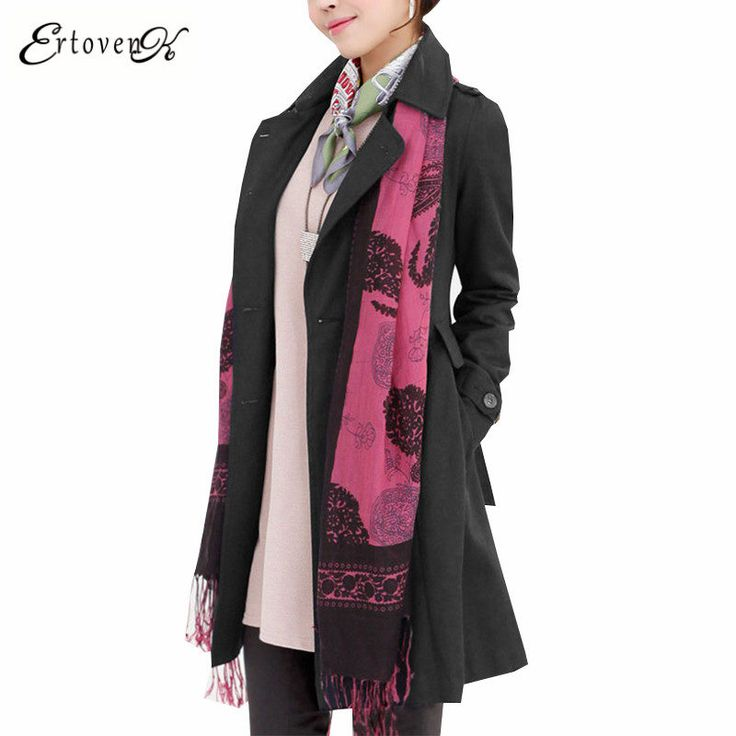 Large size Coat 17 New Spring Autumn Windbreaker Long-sleeved Korean version elegant Clothing Outerwear abrigos mujer ONE799