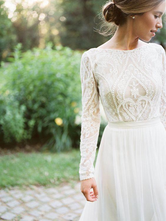 Incredibly Long sleeves full lace wedding dress flowing skirt | bohemian | Melanie by FLORA