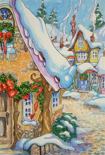"""Christmas Village Storybook Cottage Series"" - Original Fine Art for Sale - © Alida Akers"