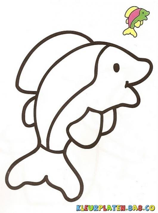dolfijnenshows Kleurplaten | KLEURPLATEN MET VOORBEELDEN | Tekening van een dolfijn met monster verf | kleurplaten.8a8.co