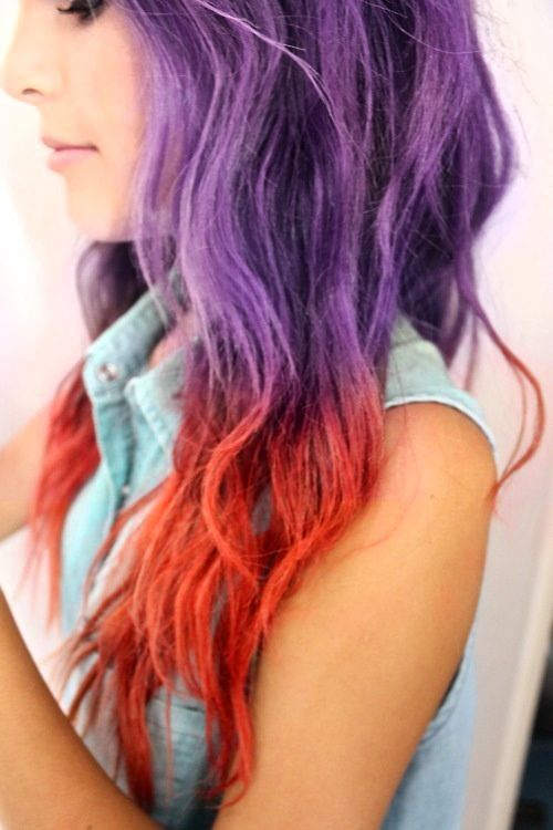 The 2006 scenester inside of me is about to explode. SO MUCH WANT.    Pastel purple and orange ombre dip dyed hair