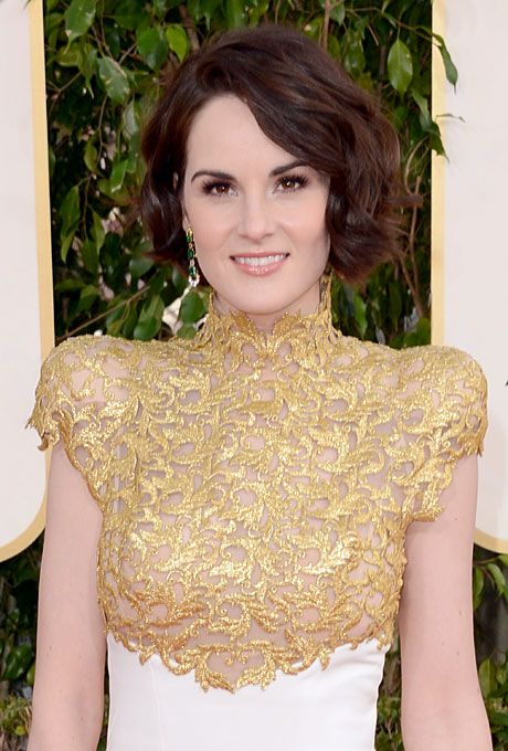 Wedding Hairstyle Idea: Michelle Dockery's Wavy Short Hairstyle at the 2013 Golden Globes