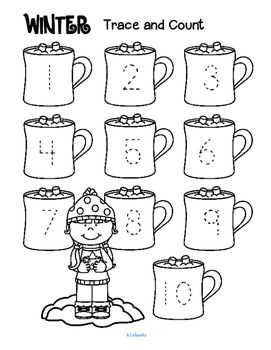 ***FREE***  Winter trace and count - Here are three winter-themed tracing and counting pages for early learners. Count the sets, recognize and trace the numbers, add extra details and color if desired.