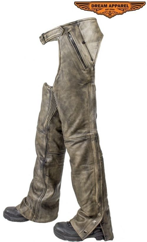 Mens Leather Motorcycle Chaps  Distressed Tan With Zip Out Lining Lots Of Sizes #EazyRiderOnline