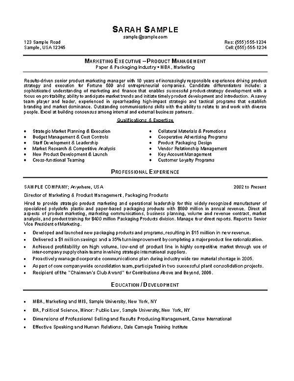 mba professional cv example