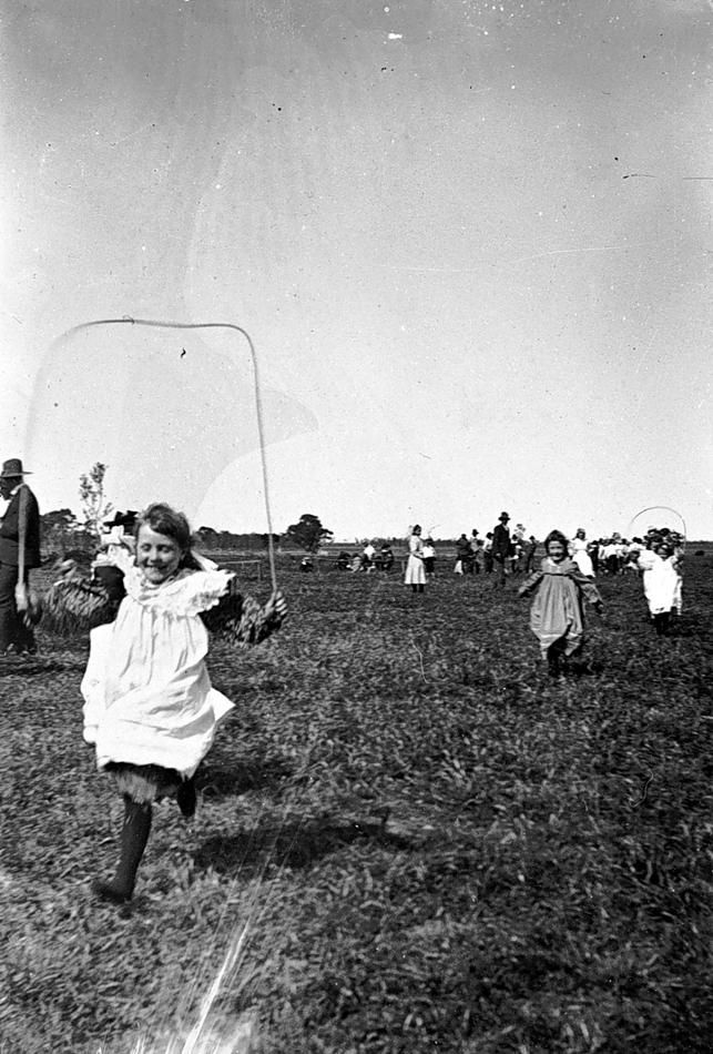 Small girls in a skipping race, Warracknabeal district, c1900..