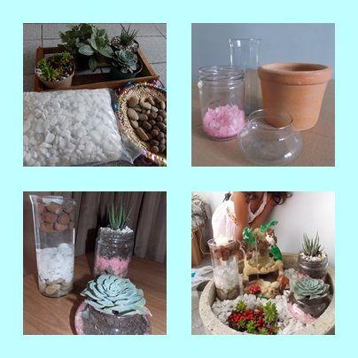 Os herbários e o jardim das fadas. Comprei apenas as suculentas e os seixos brancos. Os demais elementos, tinha em casa. Produção minha e de Marina.