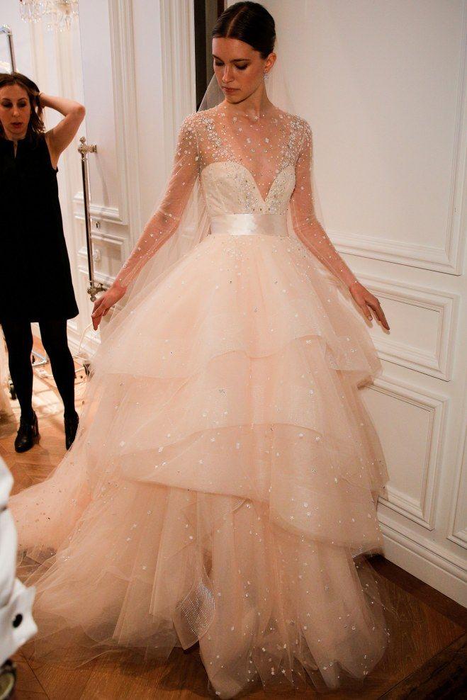Robe de mariée rose poudre, Monique Lhuillier