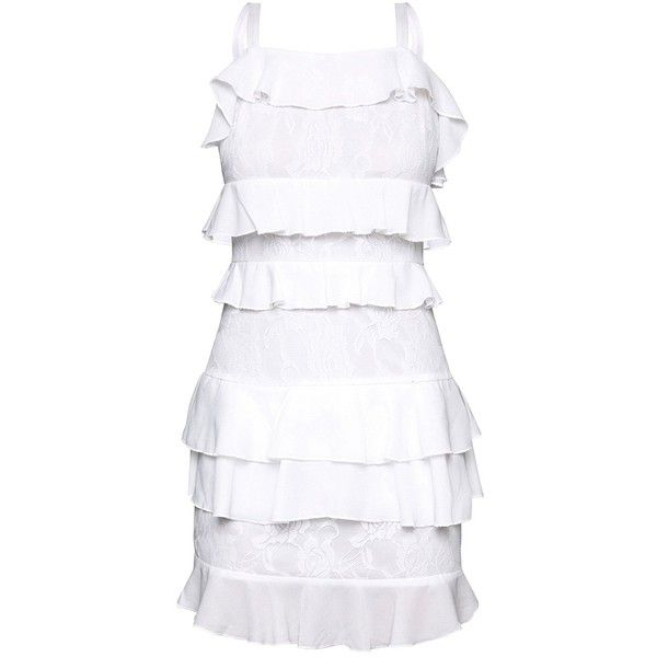 White Lace Ruffle Detail Bodycon Dress (€43) ❤ liked on Polyvore featuring dresses, lace bodycon dress, white lace dress, white ruffle dress, white body con dress and white day dress