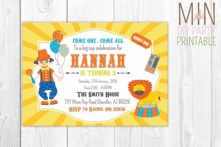 Clown Invitation,Clown Invitation for Birthday Party,Carnival Circus Theme,Clown Birthday Party Invitation, Circus Birthday Invite by minprintable on Etsy https://www.etsy.com/listing/260956644/clown-invitationclown-invitation-for