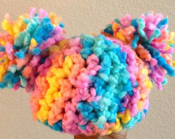 Crochet Baby Hat Pom Pom Hat  Baby Afro Puff Hat  by DopeCrochet, $15.00: Crochet Baby Hats, Hats Baby, Baby Girls, Baby Afro, Pom Pom