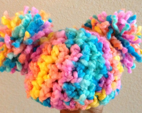 Crochet Baby Hat Pom Pom Hat  Baby Afro Puff Hat  by DopeCrochet, $15.00