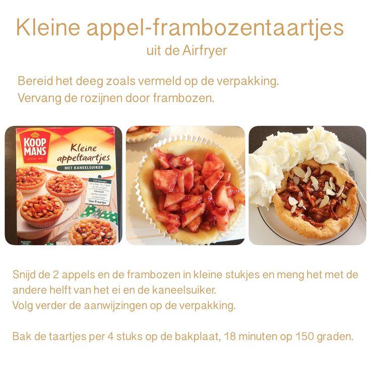 Kleine appel-frambozentaartjes uit de Airfryer. 18 minuten, 150 graden.  AK