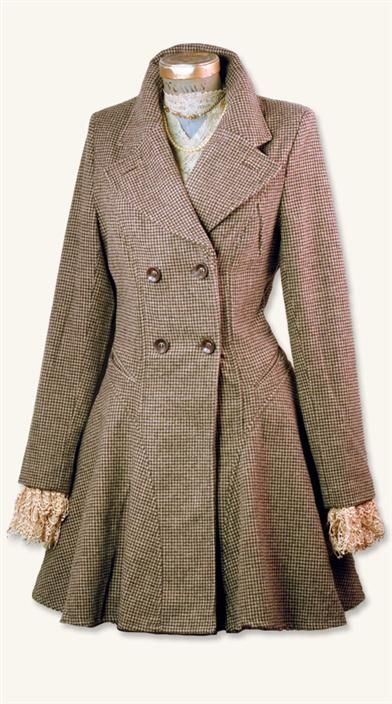 Houndstooth Coat from Victorian Trading Co. - The back of this coat looks amazing, too - click the pin to see it!
