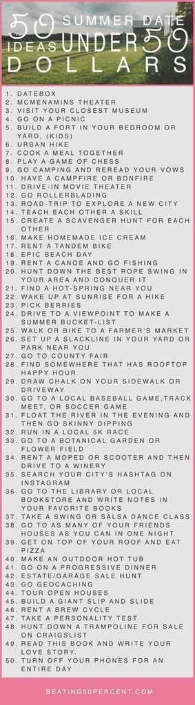 50 Sommer Date Ideen unter 50 Dollar www.beating50perc
