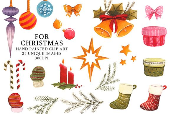 Christmas Clipart Watercolor Set by CutePaperStudio on @creativemarket